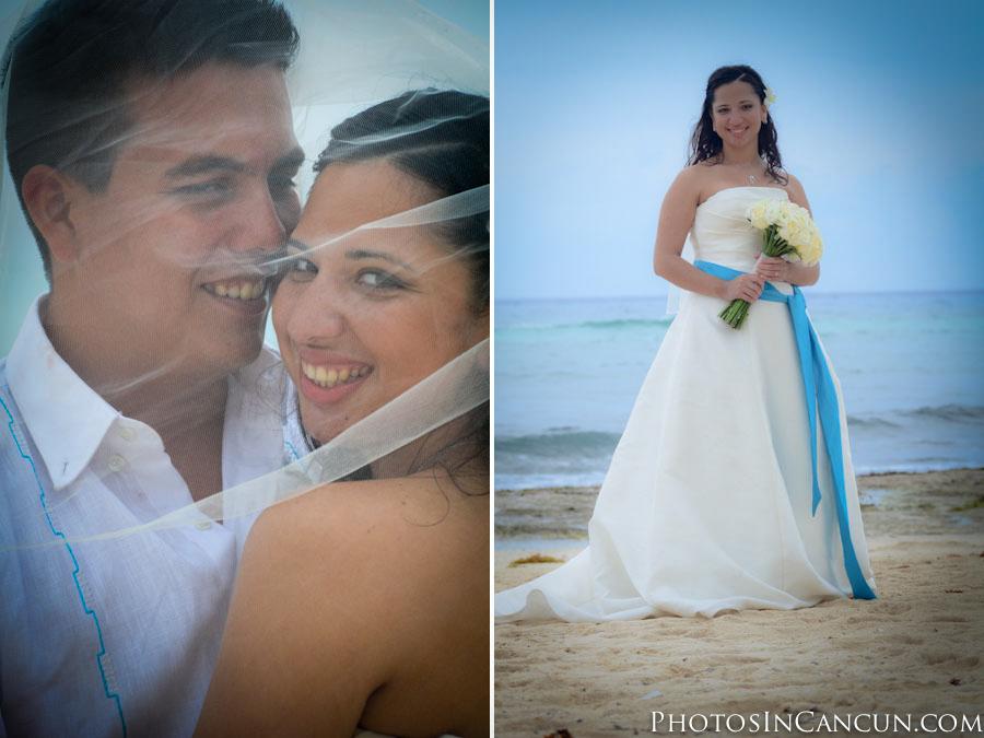 Beach Wedding photos Puerto Morelos Mexico