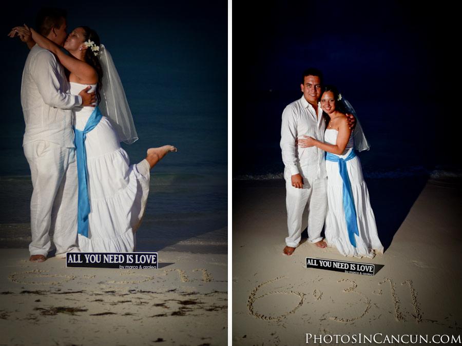 Wedding photos Puerto Morelos Beach Sunset