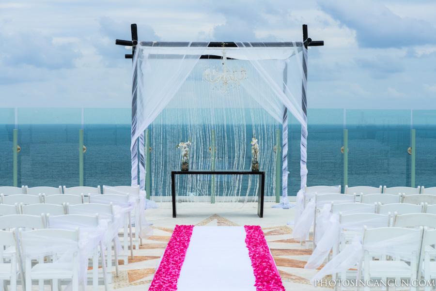Beach Palace Wedding Sky Deck Cancun Mexico thumbnail